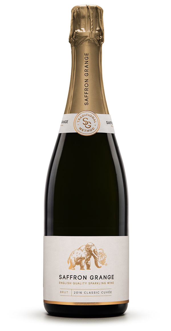 A bottle of Saffron Grange Classic Cuvee English sparkling wine