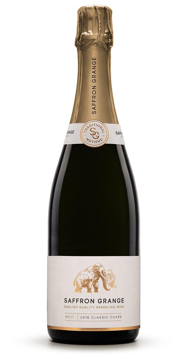 A bottle of Saffron Grange Classic Cuvee English sparkling wine